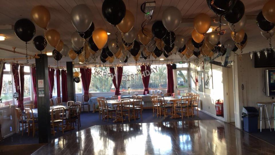 Hall decorated for a 21st Party